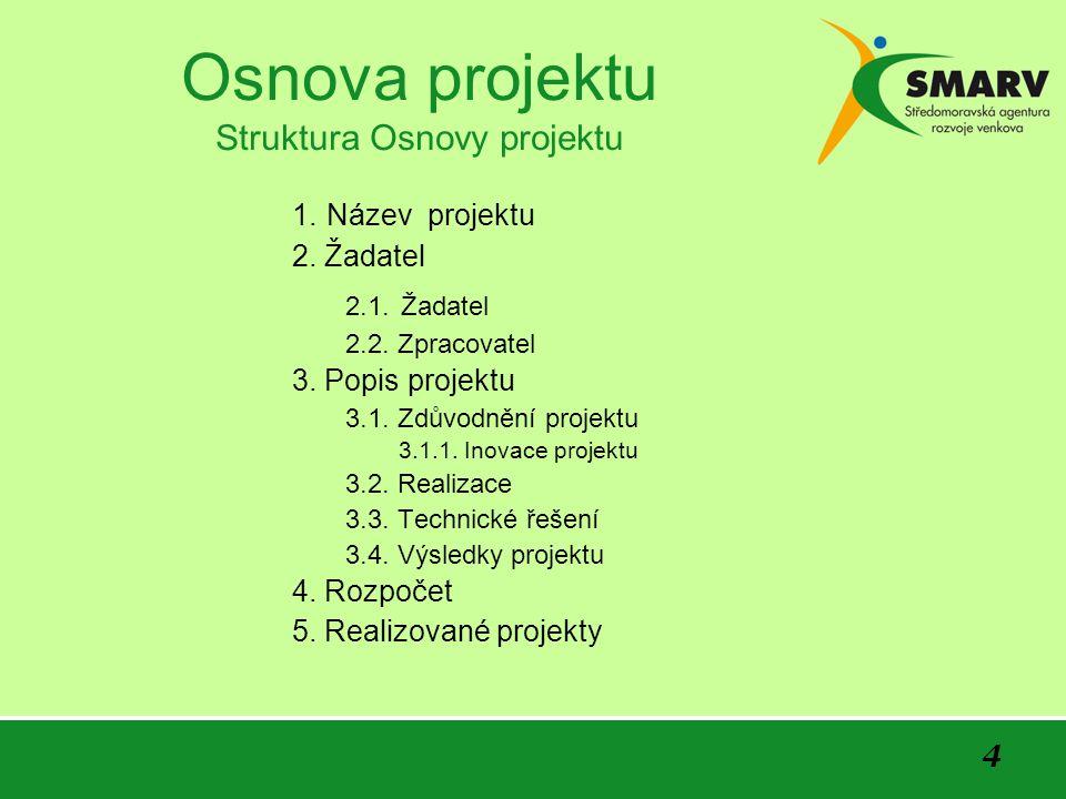 5 Osnova projektu Název projektu Uveďte stručný a výstižný název projektu Uveďte číselné označení a název opatření/podopatření, příp.