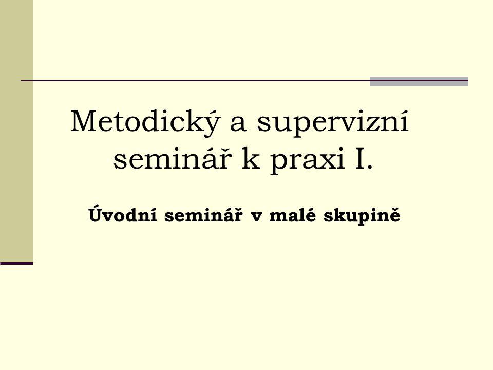 Metodický a supervizní seminář k praxi I. Úvodní seminář v malé skupině