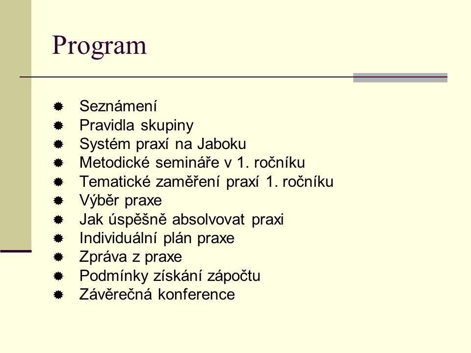 Program  Seznámení  Pravidla skupiny  Systém praxí na Jaboku  Metodické semináře v 1. ročníku  Tematické zaměření praxí 1. ročníku  Výběr praxe