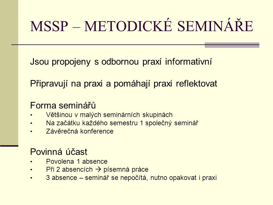 MSSP – METODICKÉ SEMINÁŘE Jsou propojeny s odbornou praxí informativní Připravují na praxi a pomáhají praxi reflektovat Forma seminářů Většinou v malý