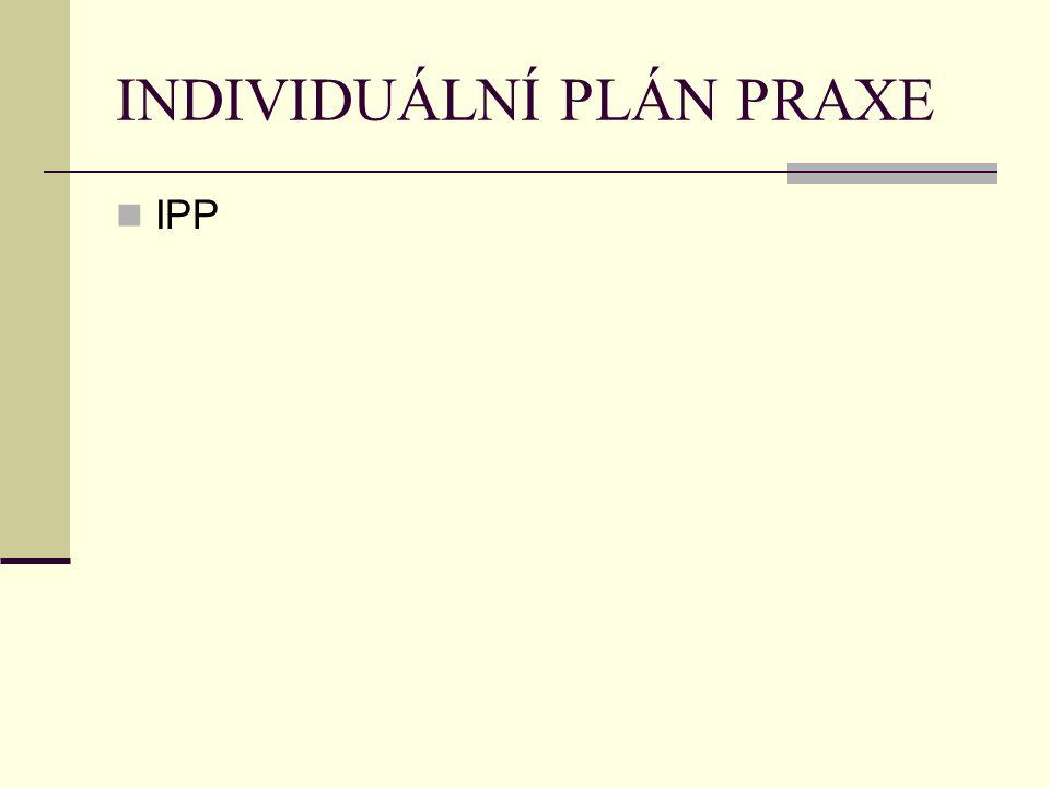 INDIVIDUÁLNÍ PLÁN PRAXE IPP