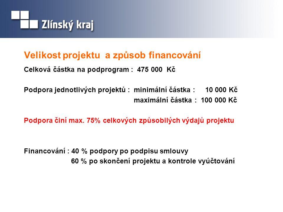 Velikost projektu a způsob financování Celková částka na podprogram : 475 000 Kč Podpora jednotlivých projektů : minimální částka : 10 000 Kč maximální částka : 100 000 Kč Podpora činí max.