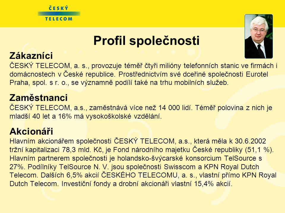 ČESKÝ TELECOM, a.s. je největší poskytovatel telekomunikačních služeb v ČR nabízí nejširší portfolio telekomunikačních služeb v ČR má nejmodernější te