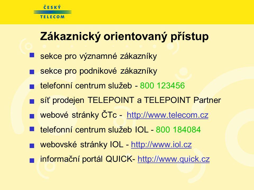 Zákaznický orientovaný přístup sekce pro významné zákazníky sekce pro podnikové zákazníky telefonní centrum služeb - 800 123456 síť prodejen TELEPOINT a TELEPOINT Partner webové stránky ČTc - http://www.telecom.cz telefonní centrum služeb IOL - 800 184084 webovské stránky IOL - http://www.iol.cz informační portál QUICK- http://www.quick.cz