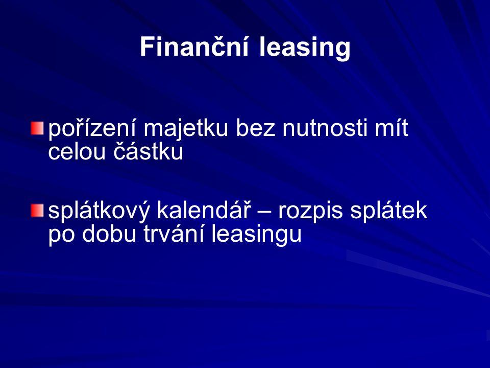 Finanční leasing pořízení majetku bez nutnosti mít celou částku splátkový kalendář – rozpis splátek po dobu trvání leasingu