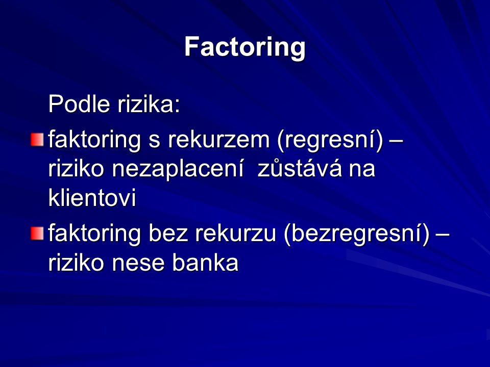 Factoring Podle rizika: faktoring s rekurzem (regresní) – riziko nezaplacení zůstává na klientovi faktoring bez rekurzu (bezregresní) – riziko nese banka