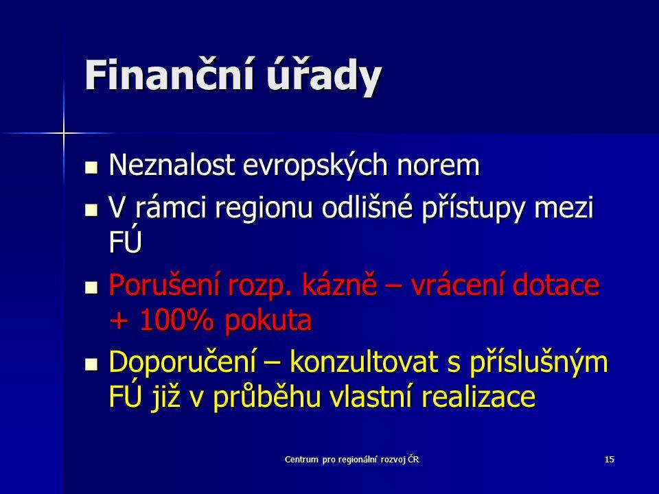 Centrum pro regionální rozvoj ČR15 Finanční úřady Neznalost evropských norem Neznalost evropských norem V rámci regionu odlišné přístupy mezi FÚ V rámci regionu odlišné přístupy mezi FÚ Porušení rozp.