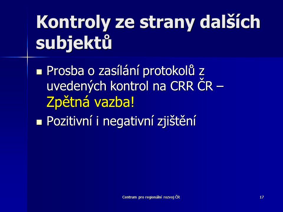 Centrum pro regionální rozvoj ČR17 Kontroly ze strany dalších subjektů Prosba o zasílání protokolů z uvedených kontrol na CRR ČR – Zpětná vazba.