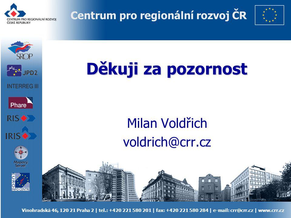 Vinohradská 46, 120 21 Praha 2 | tel.: +420 221 580 201 | fax: +420 221 580 284 | e-mail: crr@crr.cz | www.crr.cz Centrum pro regionální rozvoj ČR Děk