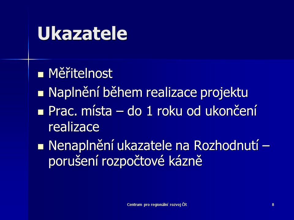Centrum pro regionální rozvoj ČR8 Ukazatele Měřitelnost Měřitelnost Naplnění během realizace projektu Naplnění během realizace projektu Prac.