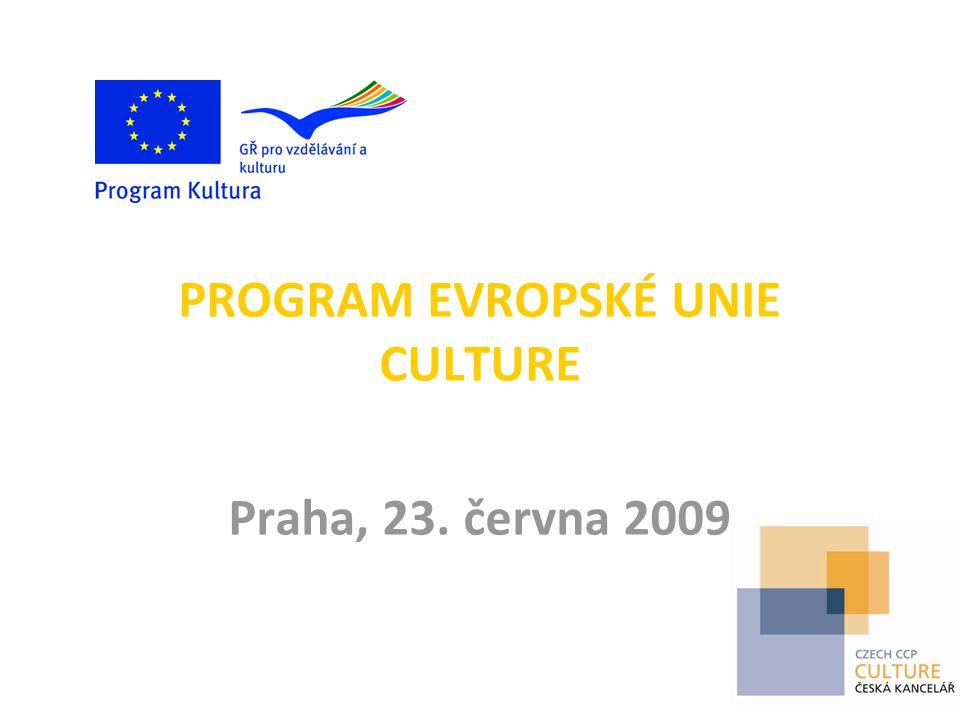 TŘI LINIE PROGRAMU CULTURE  podpora kulturních projektů  podpora subjektů aktivních v oblasti kultury na evropské úrovni – podpora evropských zájmových sítí, vyslanců, festivalů a subjektů podporujících kulturní politiku EU  podpora studií, analýz, sběru a šíření informací v oblasti kulturní spolupráce; podpora národních kanceláří