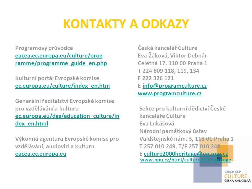 KONTAKTY A ODKAZY Programový průvodce eacea.ec.europa.eu/culture/prog ramme/programme_guide_en.php Kulturní portál Evropské komise ec.europa.eu/culture/index_en.htm Generální ředitelství Evropské komise pro vzdělávání a kulturu ec.europa.eu/dgs/education_culture/in dex_en.html Výkonná agentura Evropské komise pro vzdělávání, audiovizi a kulturu eacea.ec.europa.eu Česká kancelář Culture Eva Žáková, Viktor Debnár Celetná 17, 110 00 Praha 1 T 224 809 118, 119, 134 F 222 326 121 E info@programculture.czinfo@programculture.cz www.programculture.cz Sekce pro kulturní dědictví České kanceláře Culture Eva Lukášová Národní památkový ústav Valdštejnské nám.
