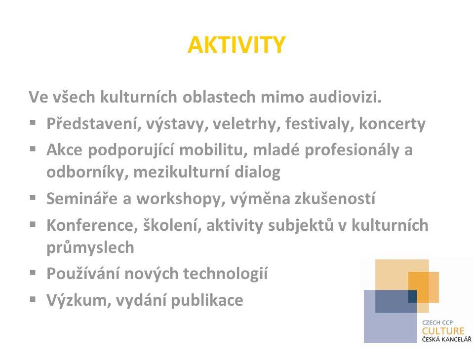 AKTIVITY Ve všech kulturních oblastech mimo audiovizi.