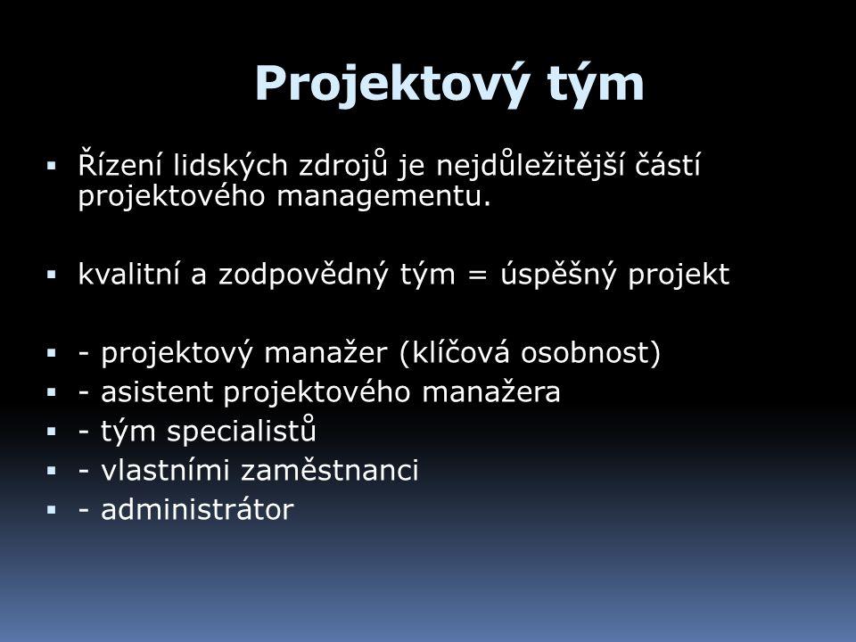 Projektový tým  Řízení lidských zdrojů je nejdůležitější částí projektového managementu.  kvalitní a zodpovědný tým = úspěšný projekt  - projektový