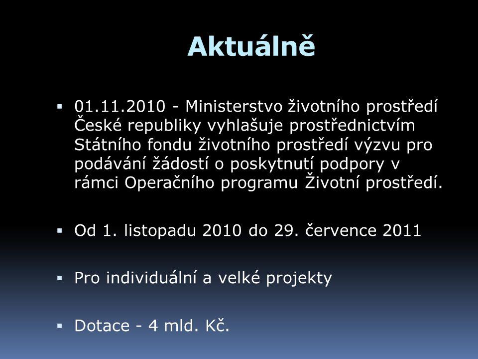 Aktuálně  01.11.2010 - Ministerstvo životního prostředí České republiky vyhlašuje prostřednictvím Státního fondu životního prostředí výzvu pro podává