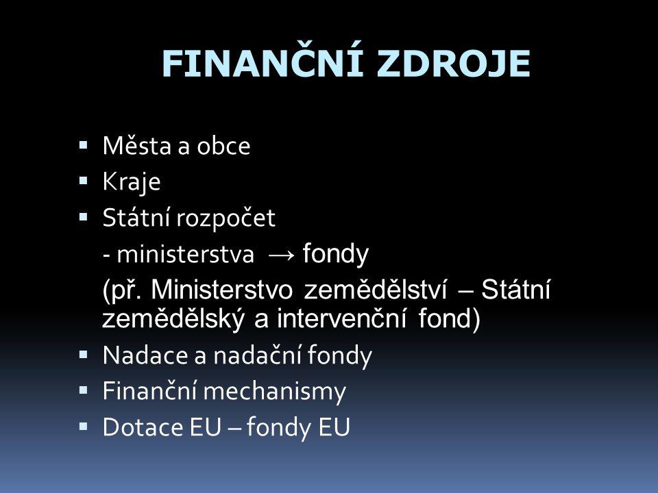 FINANČNÍ ZDROJE  Města a obce  Kraje  Státní rozpočet - ministerstva → fondy (př.