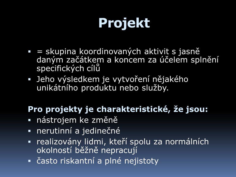 Projekt  = skupina koordinovaných aktivit s jasně daným začátkem a koncem za účelem splnění specifických cílů  Jeho výsledkem je vytvoření nějakého unikátního produktu nebo služby.