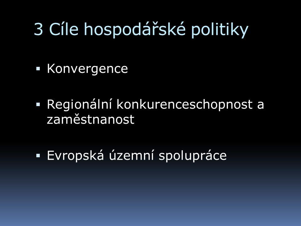 3 Cíle hospodářské politiky  Konvergence  Regionální konkurenceschopnost a zaměstnanost  Evropská územní spolupráce
