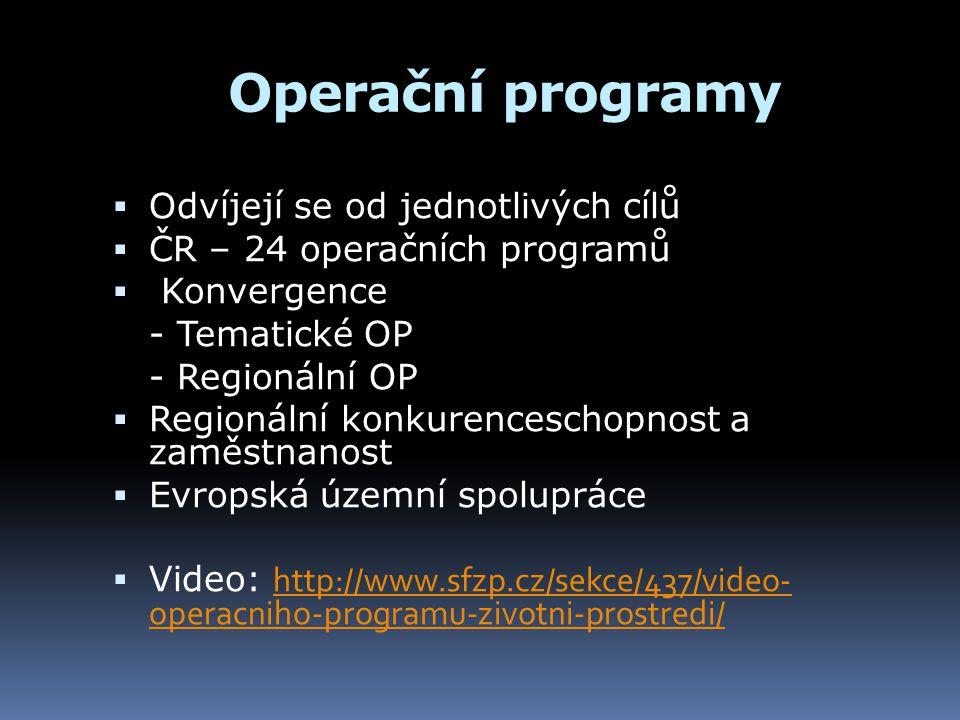 Operační programy  Odvíjejí se od jednotlivých cílů  ČR – 24 operačních programů  Konvergence - Tematické OP - Regionální OP  Regionální konkurenc