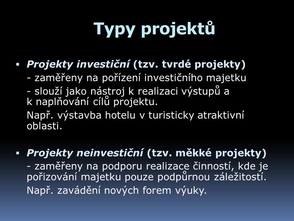Typy projektů  Projekty investiční (tzv. tvrdé projekty) - zaměřeny na pořízení investičního majetku - slouží jako nástroj k realizaci výstupů a k na