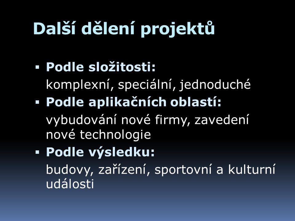 Další dělení projektů  Podle složitosti: komplexní, speciální, jednoduché  Podle aplikačních oblastí: vybudování nové firmy, zavedení nové technolog