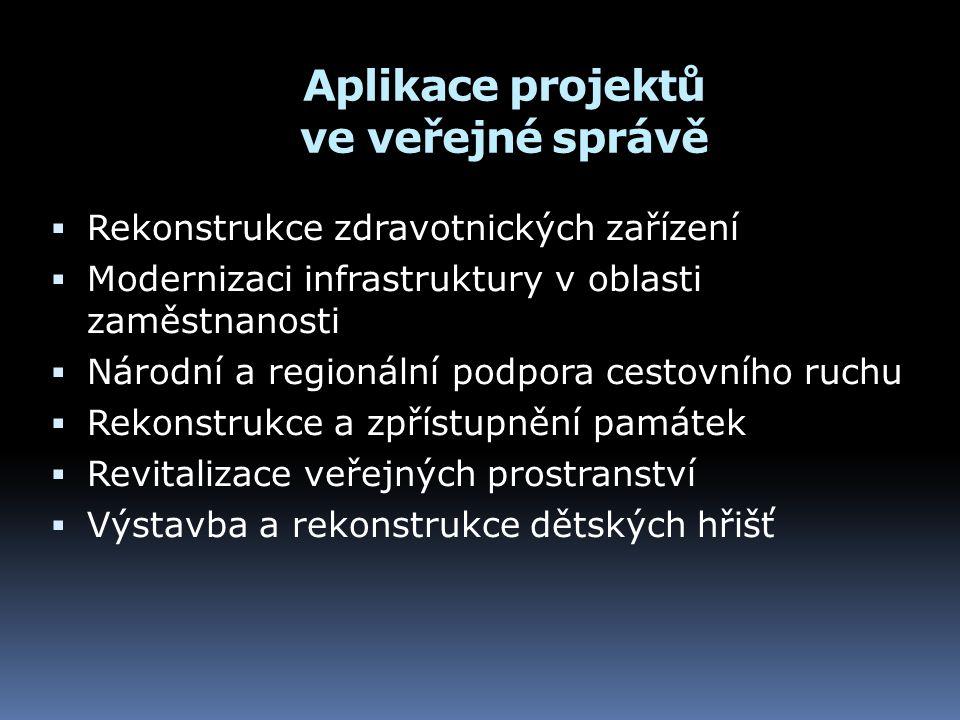 Aplikace projektů ve veřejné správě  Rekonstrukce zdravotnických zařízení  Modernizaci infrastruktury v oblasti zaměstnanosti  Národní a regionální