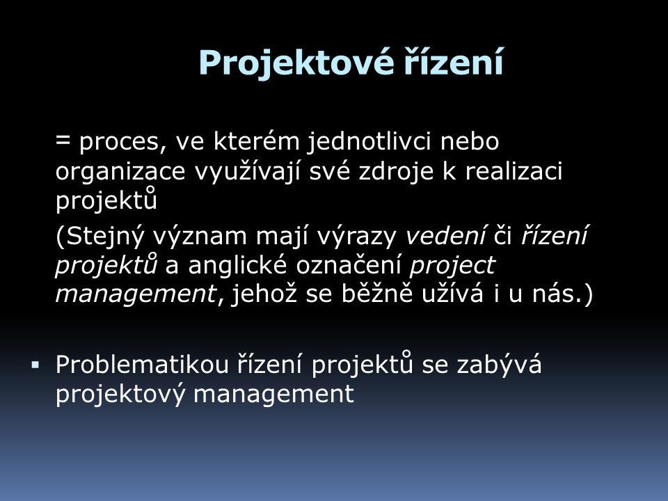 Projektové řízení = proces, ve kterém jednotlivci nebo organizace využívají své zdroje k realizaci projektů (Stejný význam mají výrazy vedení či řízen
