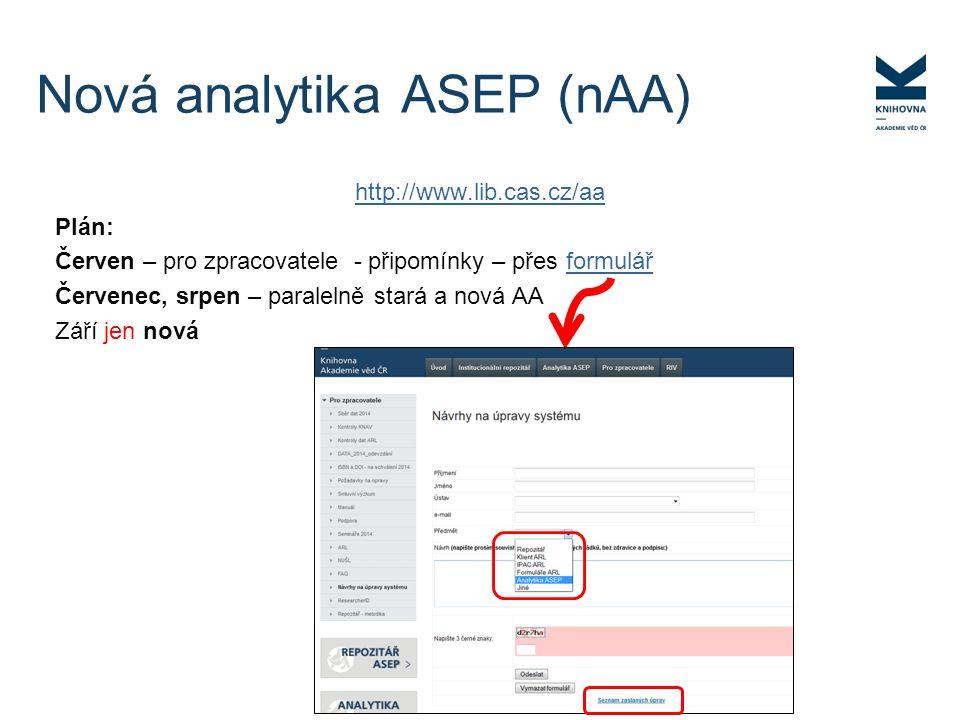 http://www.lib.cas.cz/aa Plán: Červen – pro zpracovatele - připomínky – přes formulářformulář Červenec, srpen – paralelně stará a nová AA Září jen nov
