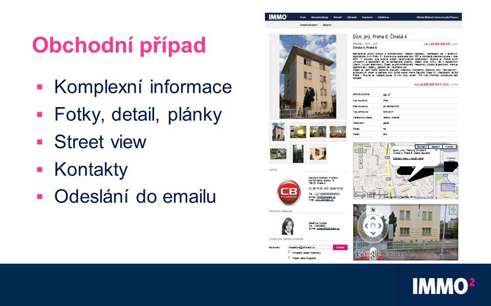 Obchodní případ  Komplexní informace  Fotky, detail, plánky  Street view  Kontakty  Odeslání do emailu