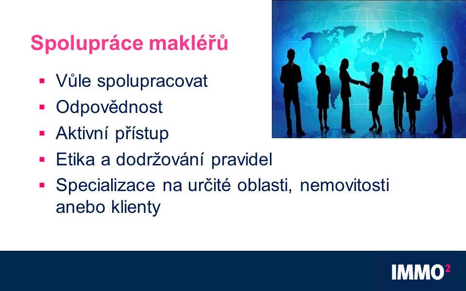 Spolupráce makléřů  Vůle spolupracovat  Odpovědnost  Aktivní přístup  Etika a dodržování pravidel  Specializace na určité oblasti, nemovitosti anebo klienty