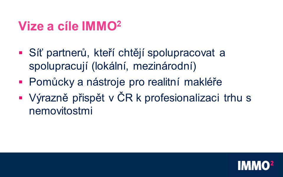 Vize a cíle IMMO 2  Síť partnerů, kteří chtějí spolupracovat a spolupracují (lokální, mezinárodní)  Pomůcky a nástroje pro realitní makléře  Výrazně přispět v ČR k profesionalizaci trhu s nemovitostmi