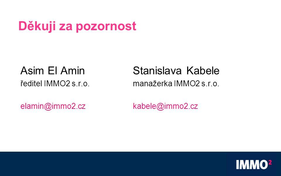 Děkuji za pozornost Asim El AminStanislava Kabele ředitel IMMO2 s.r.o.manažerka IMMO2 s.r.o.