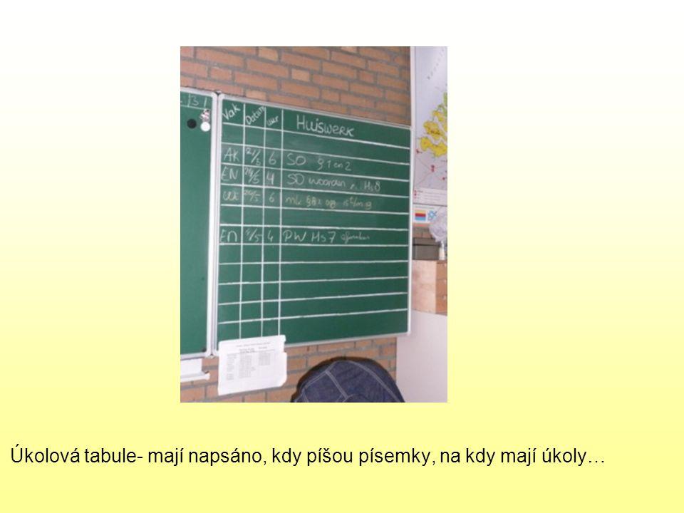 Úkolová tabule- mají napsáno, kdy píšou písemky, na kdy mají úkoly…