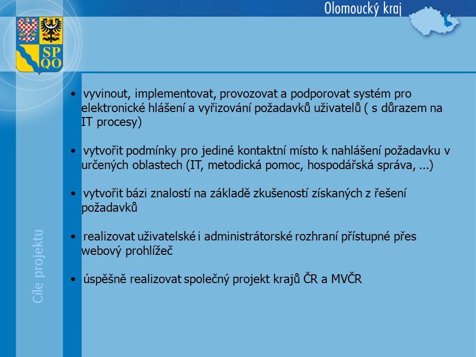 Cíle projektu vyvinout, implementovat, provozovat a podporovat systém pro elektronické hlášení a vyřizování požadavků uživatelů ( s důrazem na IT procesy) vytvořit podmínky pro jediné kontaktní místo k nahlášení požadavku v určených oblastech (IT, metodická pomoc, hospodářská správa,...) vytvořit bázi znalostí na základě zkušeností získaných z řešení požadavků realizovat uživatelské i administrátorské rozhraní přístupné přes webový prohlížeč úspěšně realizovat společný projekt krajů ČR a MVČR