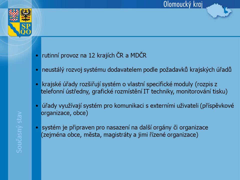 rutinní provoz na 12 krajích ČR a MDČR neustálý rozvoj systému dodavatelem podle požadavků krajských úřadů krajské úřady rozšiřují systém o vlastní specifické moduly (rozpis z telefonní ústředny, grafické rozmístění IT techniky, monitorování tisku) úřady využívají systém pro komunikaci s externími uživateli (příspěvkové organizace, obce) systém je připraven pro nasazení na další orgány či organizace (zejména obce, města, magistráty a jimi řízené organizace) Současný stav