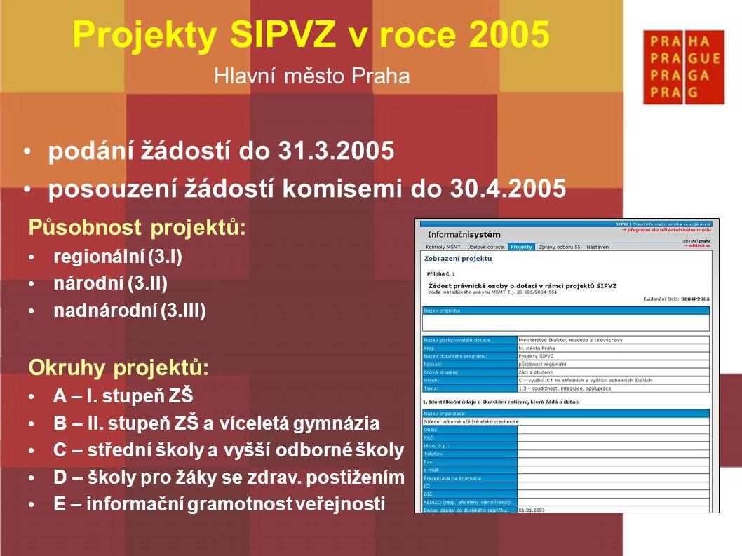 Hlavní město Praha podání žádostí do 31.3.2005 posouzení žádostí komisemi do 30.4.2005 Působnost projektů: regionální (3.I) národní (3.II) nadnárodní