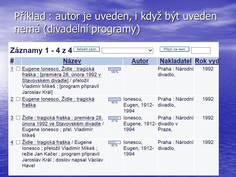 Příklad : autor je uveden, i když být uveden nemá (divadelní programy)