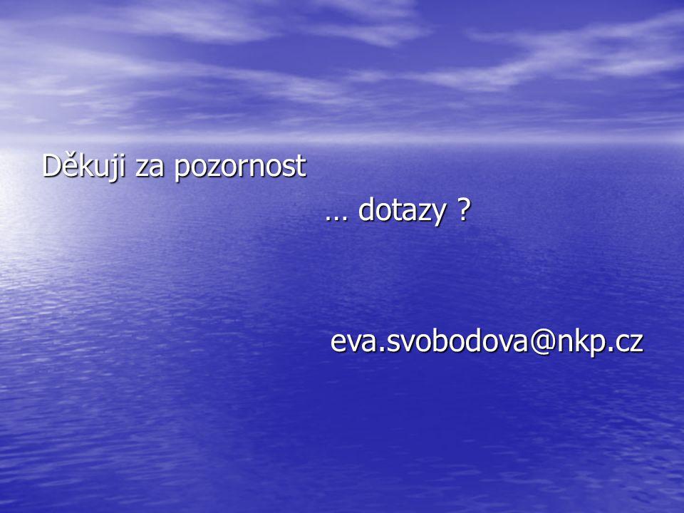 Děkuji za pozornost … dotazy … dotazy eva.svobodova@nkp.cz