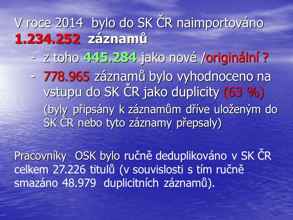 V roce 2014 bylo do SK ČR naimportováno 1.234.252 záznamů - z toho 445.284 jako nové /originální .