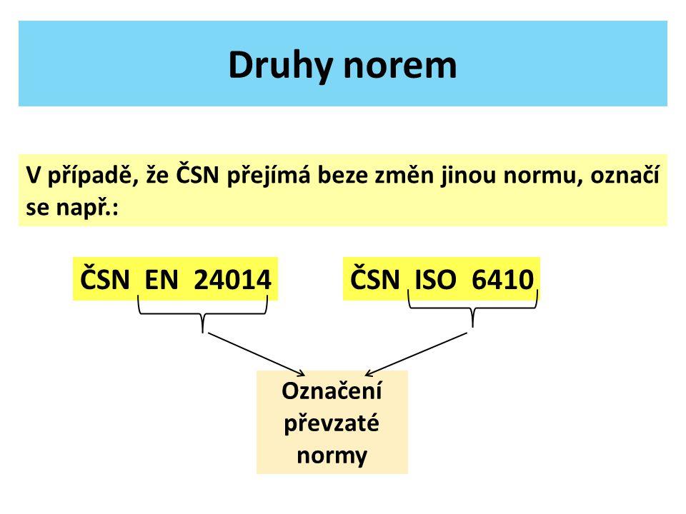Druhy norem ČSN EN 24014ČSN ISO 6410 Označení převzaté normy V případě, že ČSN přejímá beze změn jinou normu, označí se např.: