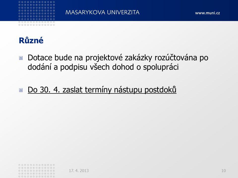 Různé Dotace bude na projektové zakázky rozúčtována po dodání a podpisu všech dohod o spolupráci Do 30. 4. zaslat termíny nástupu postdoků 17. 4. 2013