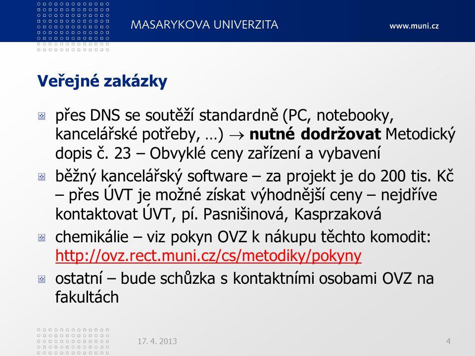Veřejné zakázky přes DNS se soutěží standardně (PC, notebooky, kancelářské potřeby, …)  nutné dodržovat Metodický dopis č. 23 – Obvyklé ceny zařízení