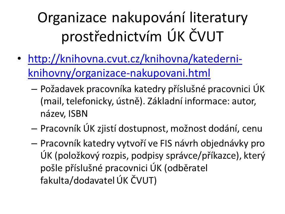 http://knihovna.cvut.cz/knihovna/katederni- knihovny/organizace-nakupovani.html http://knihovna.cvut.cz/knihovna/katederni- knihovny/organizace-nakupovani.html – Požadavek pracovníka katedry příslušné pracovnici ÚK (mail, telefonicky, ústně).