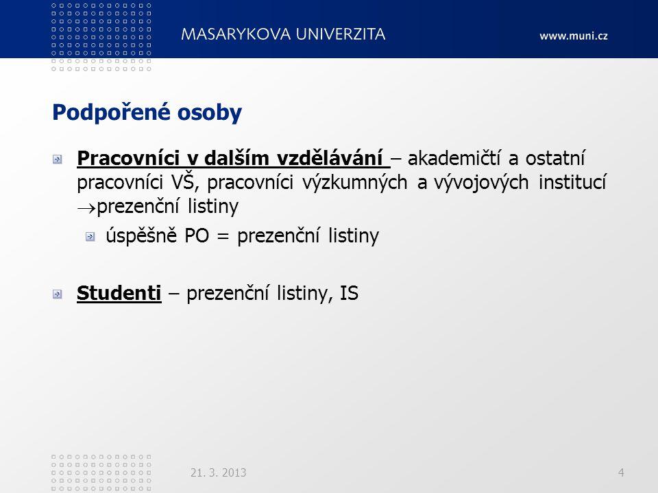 Podpořené osoby Pracovníci v dalším vzdělávání – akademičtí a ostatní pracovníci VŠ, pracovníci výzkumných a vývojových institucí  prezenční listiny úspěšně PO = prezenční listiny Studenti – prezenční listiny, IS 21.