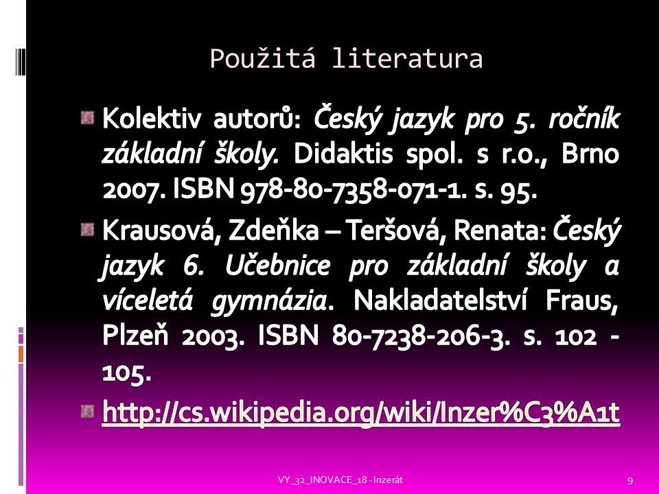 Použitá literatura VY_32_INOVACE_18 - Inzerát 9