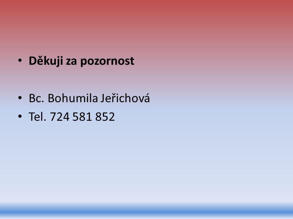 Děkuji za pozornost Bc. Bohumila Jeřichová Tel. 724 581 852