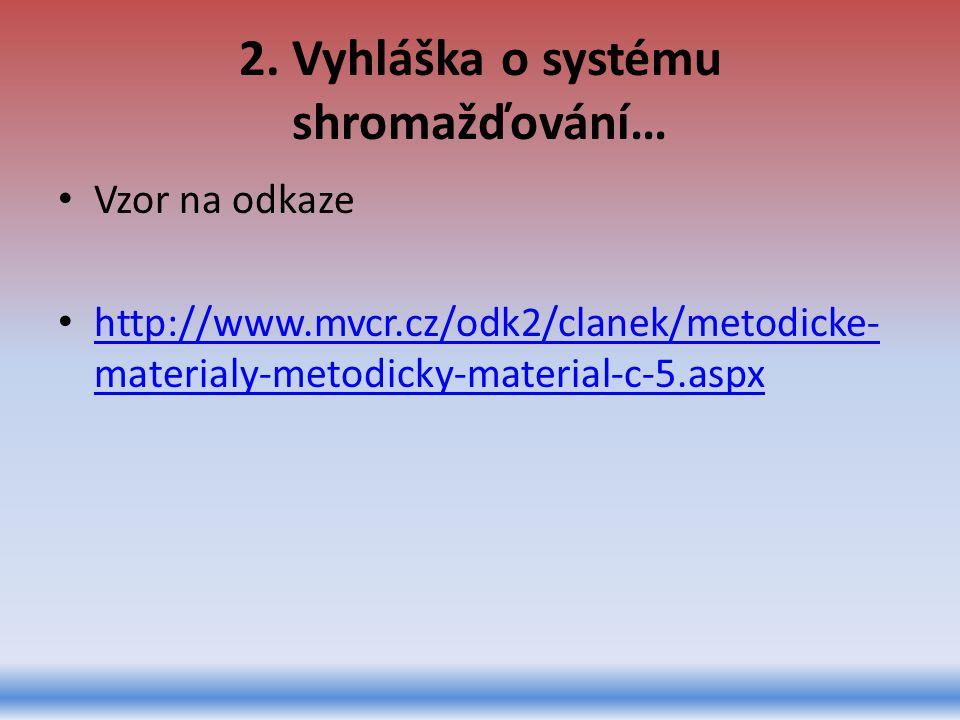 2. Vyhláška o systému shromažďování… Vzor na odkaze http://www.mvcr.cz/odk2/clanek/metodicke- materialy-metodicky-material-c-5.aspx http://www.mvcr.cz