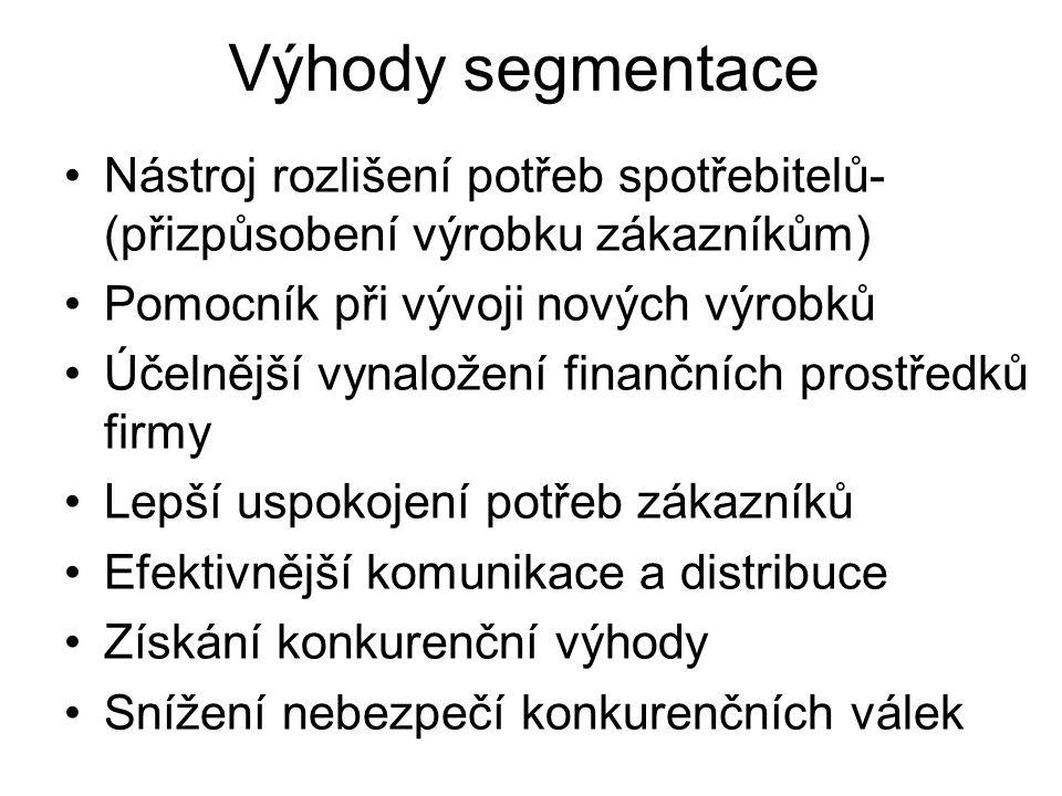 Výhody segmentace Nástroj rozlišení potřeb spotřebitelů- (přizpůsobení výrobku zákazníkům) Pomocník při vývoji nových výrobků Účelnější vynaložení fin
