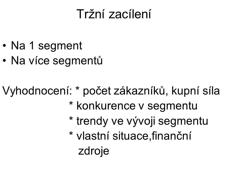 Tržní zacílení Na 1 segment Na více segmentů Vyhodnocení: * počet zákazníků, kupní síla * konkurence v segmentu * trendy ve vývoji segmentu * vlastní