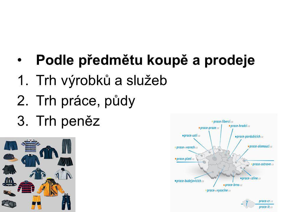 Podle předmětu koupě a prodeje 1.Trh výrobků a služeb 2.Trh práce, půdy 3.Trh peněz